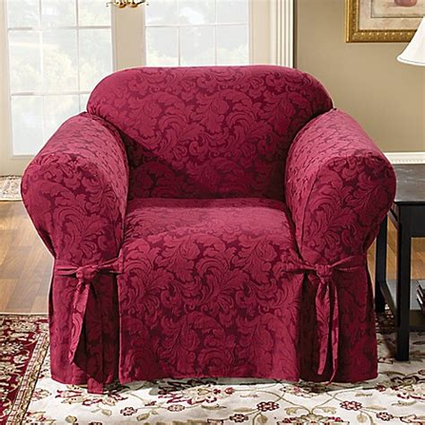 slipcovers bed bath and beyond sure fit 174 scroll 1 piece and wingback chair slipcovers