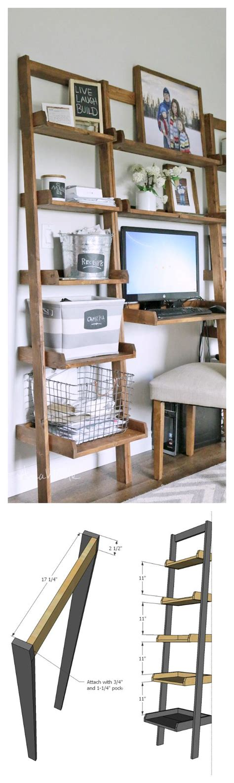 white leaning ladder wall bookshelf diy projects