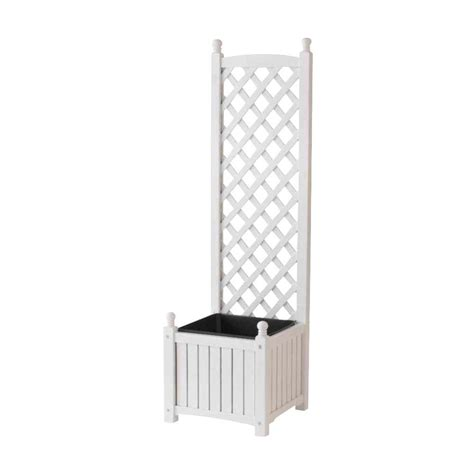 dmc 16 in square white wood planter with