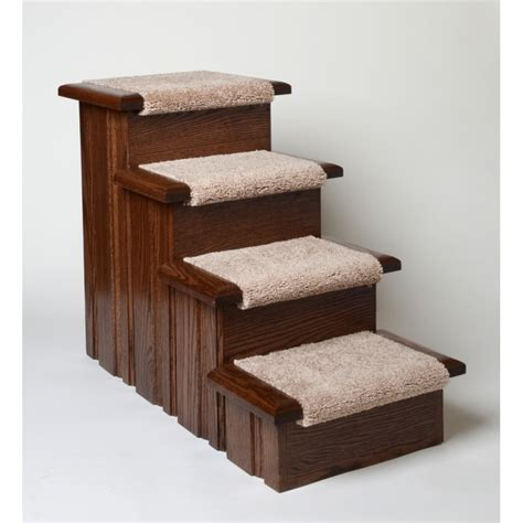 Dog Ramp For Bed Oak Wood Carpeted Pet Stairs