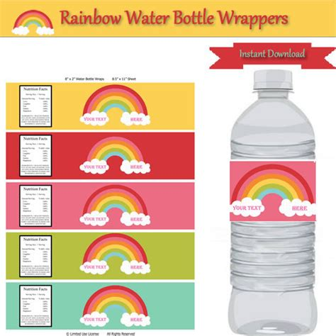 personalized water bottle label template rainbow water bottle labels personalize birthday