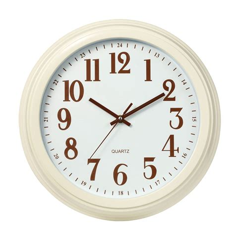 white kitchen wall clocks plastic wall clock white brown bold numbers