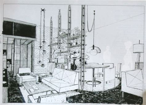 Perspective Drawing Living Room by Colombo Joe Furniture Design 1970 1980 The List
