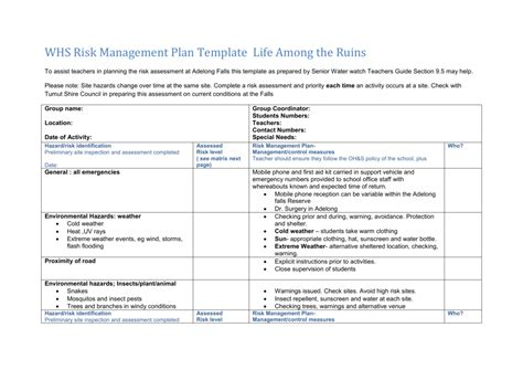 ohs management plan template ohs management plan template free template design