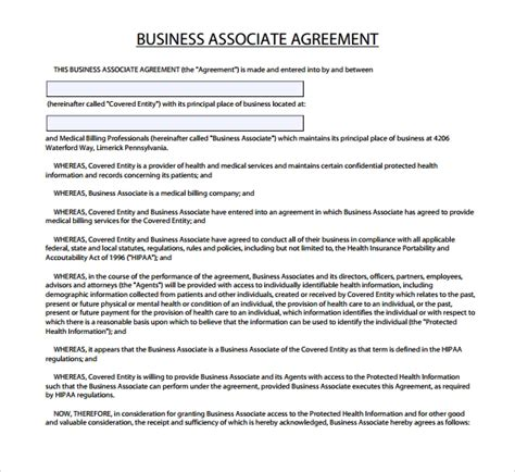 7 Business Associate Agreement Templates Sle Templates Business Associate Agreement Template 2016