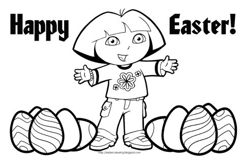 Easter Coloring Pages Dora | easter colouring dora the explorer easter coloring pages