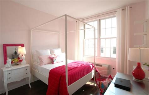 beautiful bedroom in light pink accentuated by fabric and