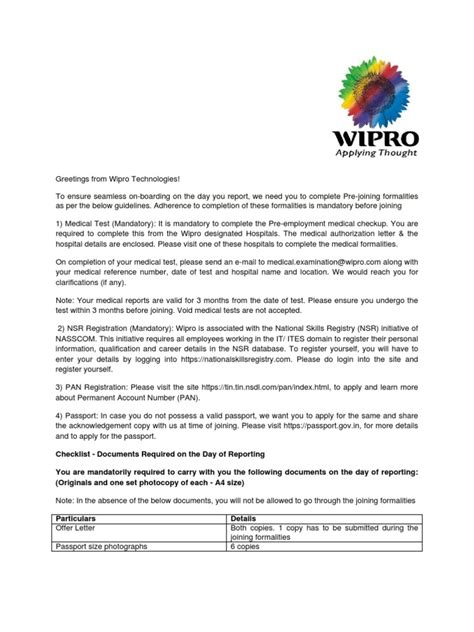 appointment letter format wipro clinical data management in wipro indeed resumes
