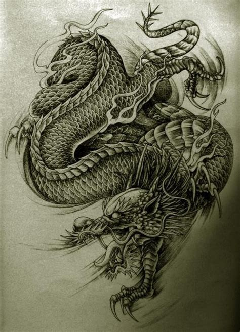 unkind black and white asian dragon tattoo design