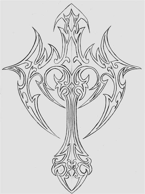 outline tribal tattoo cross images designs
