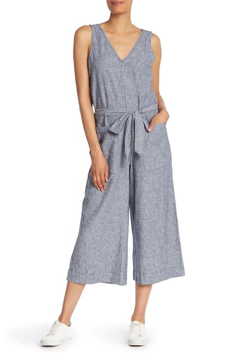 Beachlunchlounge Linen by Beachlunchlounge Striped Linen Blend Jumpsuit Nordstrom Rack