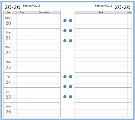 printable daily planner january 2016 printable a5 weekly planner inserts 2016 calendar
