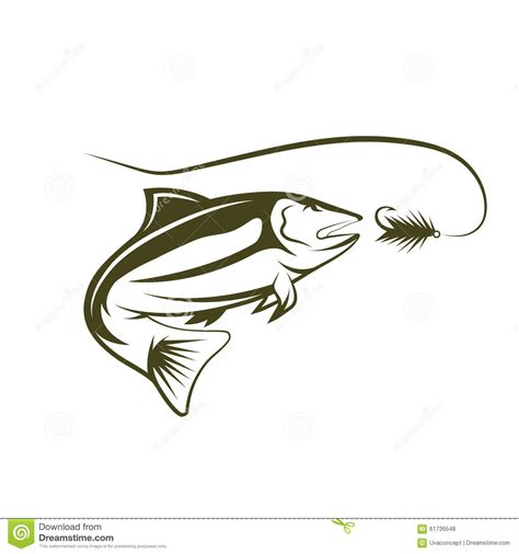 salmon template salmon and lure stock vector image 61736548