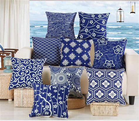 indian home decor online shopping blue and white series floral geometric cushion cover
