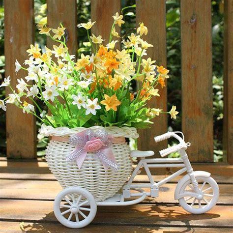 Flower Rattan Bike New Size 28 X 18 Cm 2018 sale white tricycle bike design flower basket