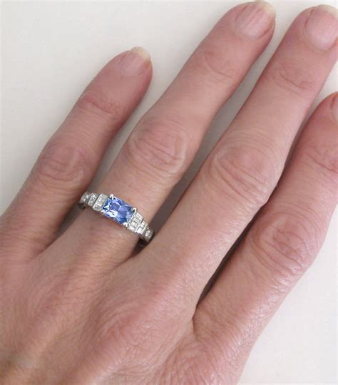 light pink sapphire engagement rings radiant cut ceylon light blue sapphire and baguette and