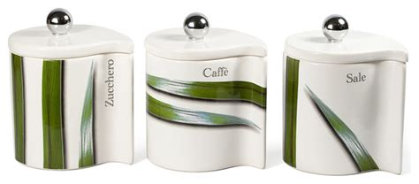 3 piece tan canister set modern kitchen with spoon attached vivere full green 3 piece canister set modern kitchen