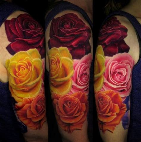 3d rose tattoo 4 colored flowers 3d http tattootodesign
