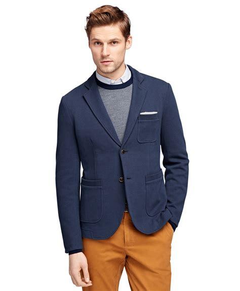 knit blazer brothers knit blazer in blue for navy lyst