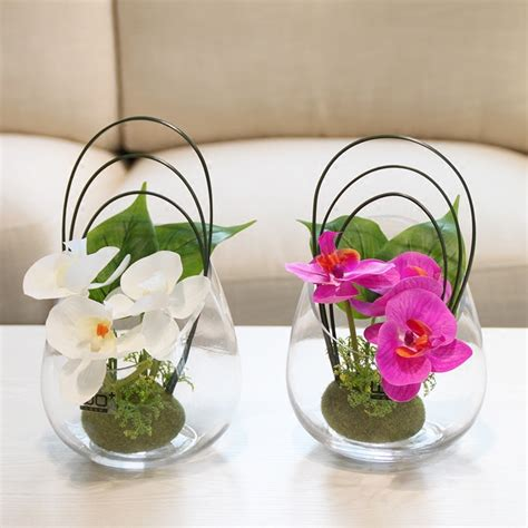 color options butterfly orchid glass vase pu flowers