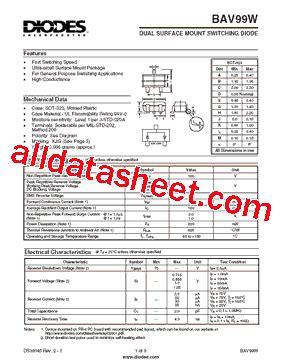 diodes inc bav99 bav99w 데이터시트 pdf diodes incorporated