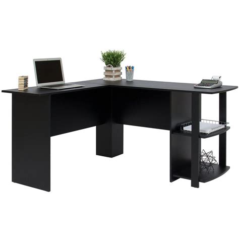 Office Desk Black Modern Computer Desk L Shape Office Corner Black Laptop Workstation Contemporary