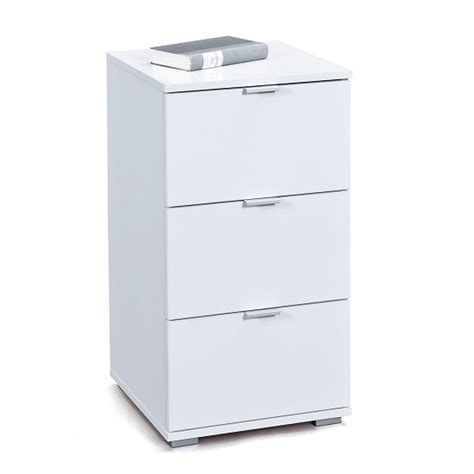 White High Gloss Bedside Drawers by Meridian Bedside Cabinet In White High Gloss With 3 Drawers