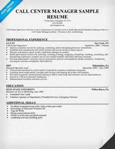 sle call center manager resume