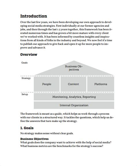 social media business plan template sle business strategy 7 documents in pdf