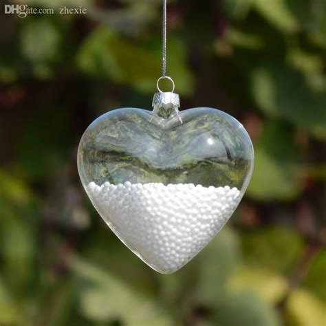 wholesale 11cm clear glass heart bauble christmas