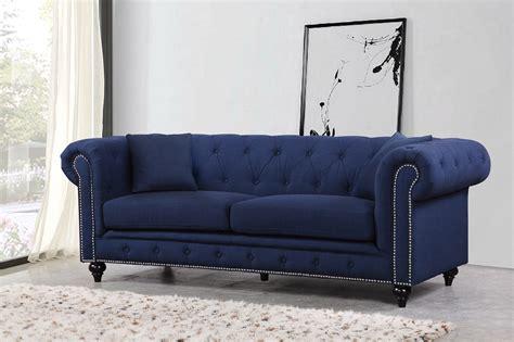 kristopher chesterfield modern navy linen tufted sofa