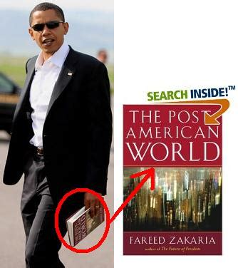 The Post American World By Fareed Zakaria Ebooke Book censors a picture of obama reading a book called