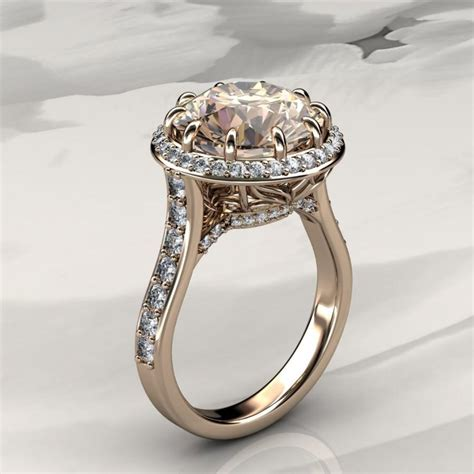morganite halo engagement ring with diamonds in gold