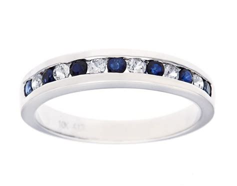 white gold ct genuine sapphire anniversary wedding band
