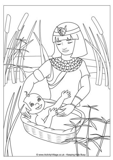 coloring page of baby moses moses in the basket colouring page άνοιξη pinterest