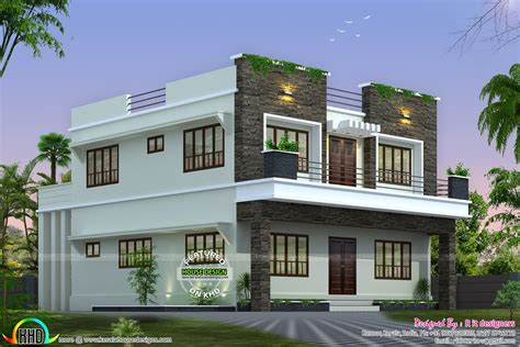 front side design of house front side and back view of box model home kerala home