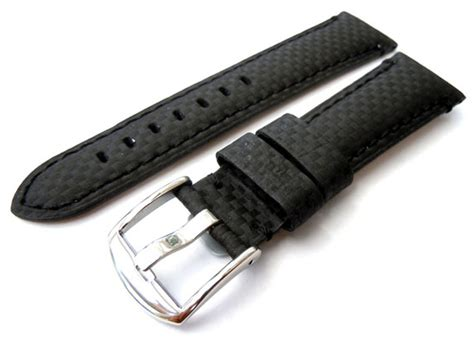 Tag Carbon All Black carbon fibre 22mm black leather watchstrap for tag heuer