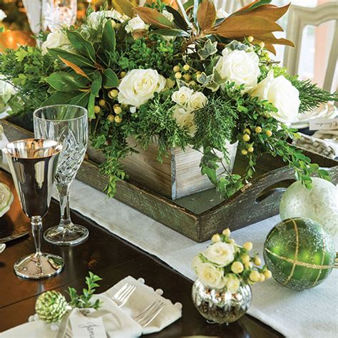 Floral Arrangements For Home Decor silver white and evergreen christmas paula deen magazine