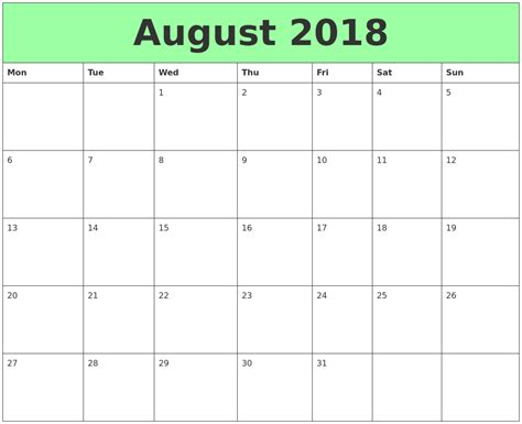 printable calendar monday start august 2018 printable calendars