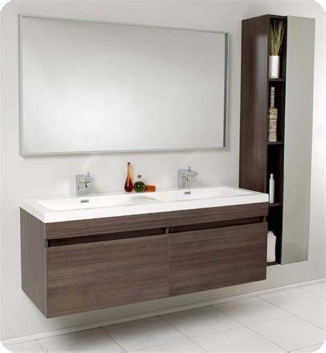 Bathroom Furniture Modern 57 Fresca Largo Fvn8040go Gray Oak Modern Bathroom Vanity W Wavy Sinks Bathroom