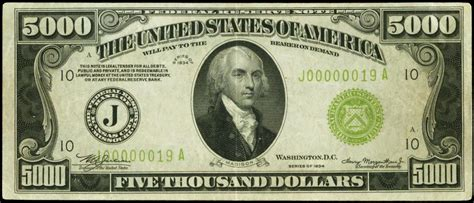 currency usd 1934 five thousand dollar federal reserve note world