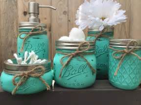 Hand painted mason jar bathroom set mason by midnightowlcandleco