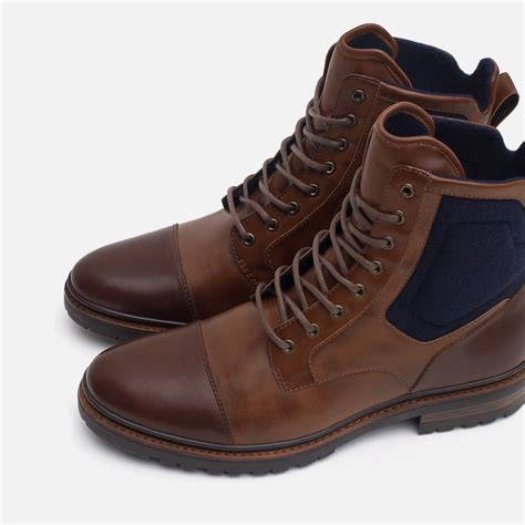 zara boots mens zara contrast boots with grip sole in brown for lyst