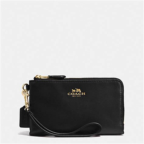 Coach Wristlet 2zip Black coach f64581 corner zip wristlet in leather imitation gold black coach accessories