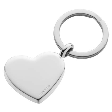 silver key ring heart design by hersey silversmiths