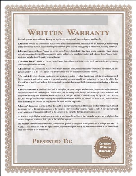 body shop written warranty diminished value car appraisal