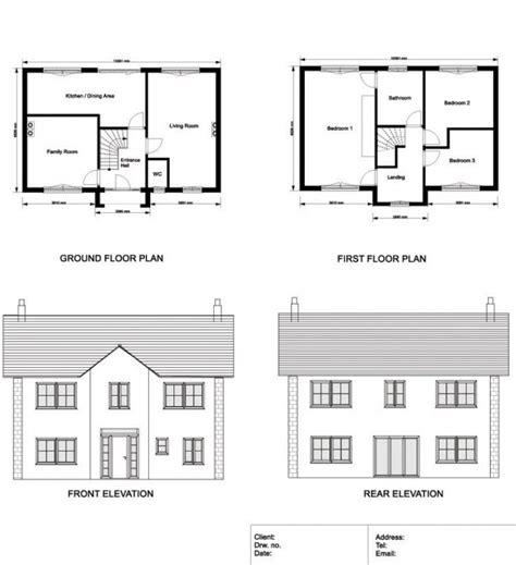 ground floor and floor plan elevations and sections