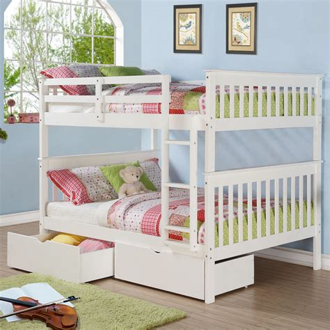 full over full bunk beds with storage donco kids mission full over full bunk bed with storage