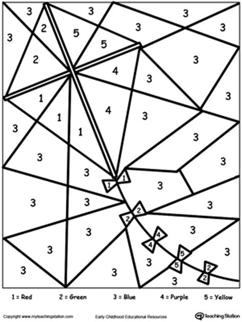 kite coloring pages for kindergarten color by number kite learning colors free coloring and