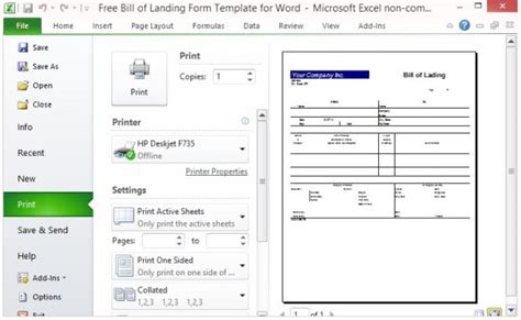 sle bill of lading template printable sle bill of